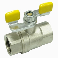 Brass ball valve for gas yellow butterfly npt(20932N-IBBY)