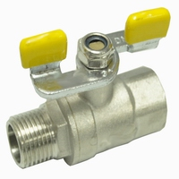 Brass ball valve for gas yellow butterfly npt(20933N-IBBY)